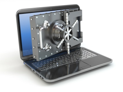 Laptop and opening safe deposit box's door.