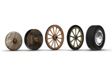 Line of wheels from stone wheel to modern tire